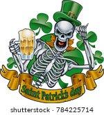 leprechaun skeleton with top... | Shutterstock .eps vector #784225714