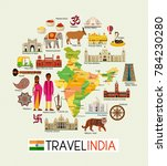 india travel map with... | Shutterstock .eps vector #784230280