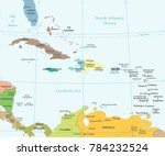 the caribbean map   detailed... | Shutterstock .eps vector #784232524