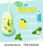 recipe for detox cocktail with... | Shutterstock . vector #784240468