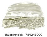 woodcut illustration of a rural