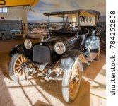 Small photo of USA, NM, COLUMBUS -CIRCA 2008 - 1916 Dodge Touring car as used by Gneral John Pershing in Mexico. Yet in the Pacho Villa State Park Museum.