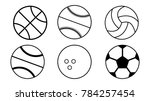 all ball types simple black... | Shutterstock .eps vector #784257454