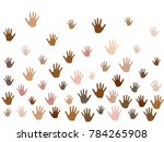 hands with skin color diversity ... | Shutterstock .eps vector #784265908