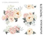 set of the floral arrangements. ...   Shutterstock .eps vector #784291378