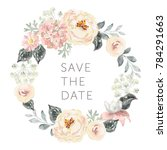 Stock vector wedding wreath save the date pale pink peonies hydrangea and gray leaves watercolor vector 784291663