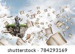 frustrated businessman sitting... | Shutterstock . vector #784293169
