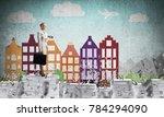 business woman in suit standing ... | Shutterstock . vector #784294090