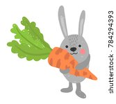 pretty rabbit with carrot | Shutterstock .eps vector #784294393