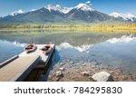 kayaks on a pier among...   Shutterstock . vector #784295830
