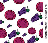 seamless pattern of grapes and... | Shutterstock .eps vector #784305178