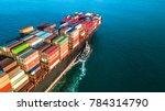 aerial view cargo ship