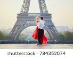 beautiful romantic couple... | Shutterstock . vector #784352074
