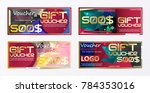 gift voucher gold template... | Shutterstock .eps vector #784353016