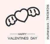 heart with wings in line art... | Shutterstock .eps vector #784369246