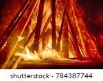 huge fire at night  timber crib ... | Shutterstock . vector #784387744