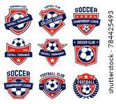 set of soccer  football emblems.... | Shutterstock .eps vector #784425493