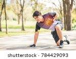sport man having chest pain...   Shutterstock . vector #784429093