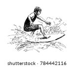 hand sketch surfer. vector... | Shutterstock .eps vector #784442116