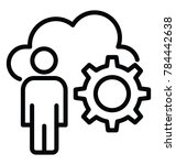 a cloud  cogwheel and a person... | Shutterstock .eps vector #784442638