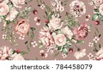seamless pattern with flowers... | Shutterstock . vector #784458079