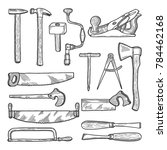 tools in carpentry workshop.... | Shutterstock . vector #784462168