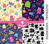 patterns set with cute cartoon... | Shutterstock . vector #784462240