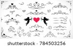 Collection of flourish elements for wedding and Valentine's day decorations.
