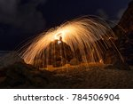 steel wool spin from the top of ... | Shutterstock . vector #784506904
