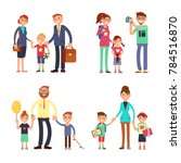 kids and parents in happy... | Shutterstock . vector #784516870