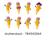 cartoon clever pencil character ... | Shutterstock . vector #784542064