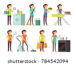 cartoon housewife in housework... | Shutterstock . vector #784542094