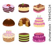 birthday party tasty cakes.... | Shutterstock . vector #784542124