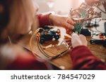 girl looking circuit board...   Shutterstock . vector #784547029