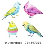 Stock photo cute watercolor set colorful funny birds 784547398