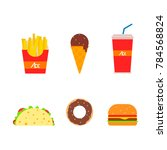 colorful fast food illustration ... | Shutterstock .eps vector #784568824