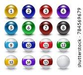 billiard balls illustration.... | Shutterstock .eps vector #784569679