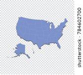 usa map   high detailed blue... | Shutterstock .eps vector #784602700
