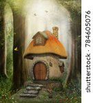 Enchanting fairy tale mushroom house in a magical forest, 3D render illustration