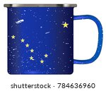 a typical blue coloured tin cup ... | Shutterstock .eps vector #784636960