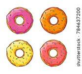 set of cartoon glazed sweet... | Shutterstock .eps vector #784637200
