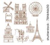 paris  france. vector sketch... | Shutterstock .eps vector #784646650