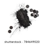 activated charcoal in powder... | Shutterstock . vector #784649020