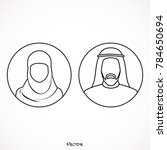 muslim man and woman. | Shutterstock .eps vector #784650694