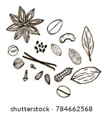 set vector icons hand drawn... | Shutterstock .eps vector #784662568