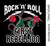 rock and roll  rose and snake... | Shutterstock .eps vector #784674340