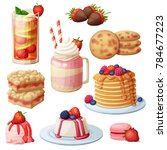 strawberry dessert collection.... | Shutterstock .eps vector #784677223