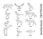 set of abstract animal... | Shutterstock .eps vector #784700140