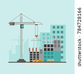 building site work process... | Shutterstock .eps vector #784728166
