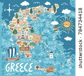 vector stylized map of greece.... | Shutterstock .eps vector #784734418